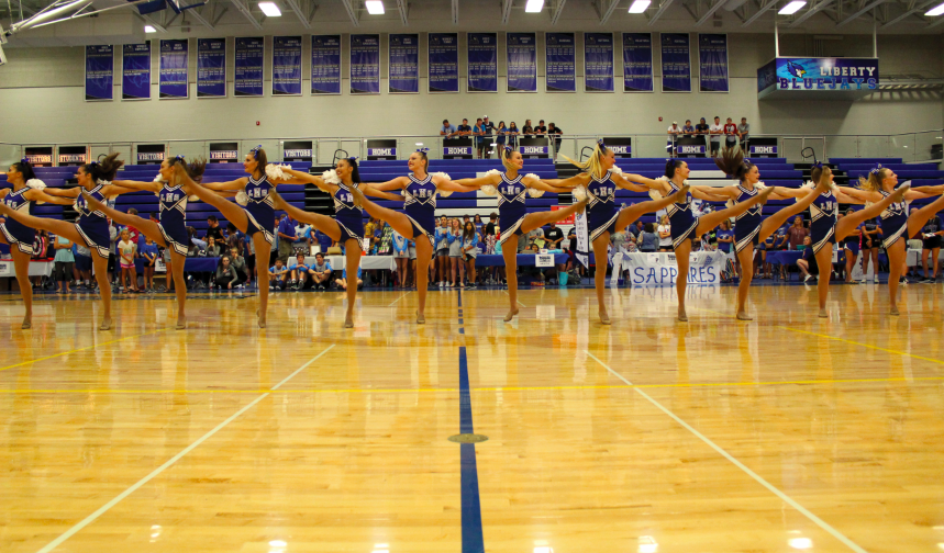 The+varsity+Sapphires+team+performed+during+the+Blue+Jay+Nation+Kick-Off+in+the+fieldhouse.+Photo+by+Chrystian+Noble