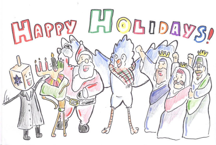 The+Bell+staff+asked+the+question%3A+Does+our+high+school+recognize+all+holidays+during+December%3F+Illustration+by+Daryl+Gichui