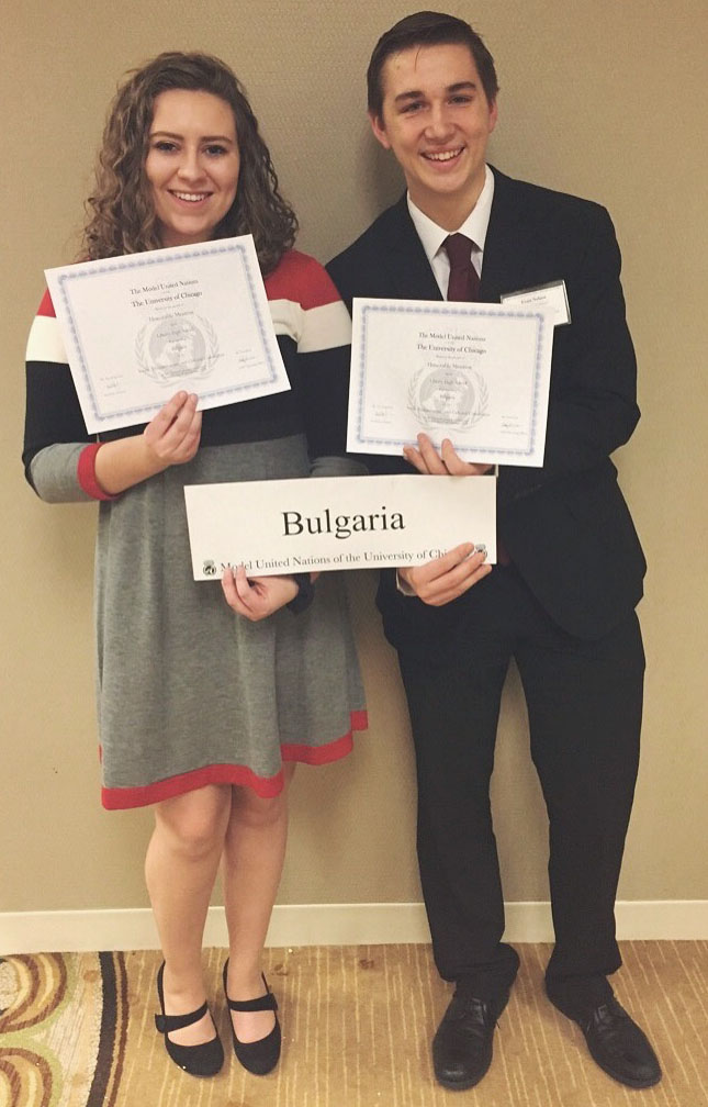 Juniors Abby Maloney and Evan Nelson received an honorable mention for their work as the delegates from Bulgaria at the Model United Nations conference in Chicago from February 1-4. Photo Courtesy of Abby Maloney.