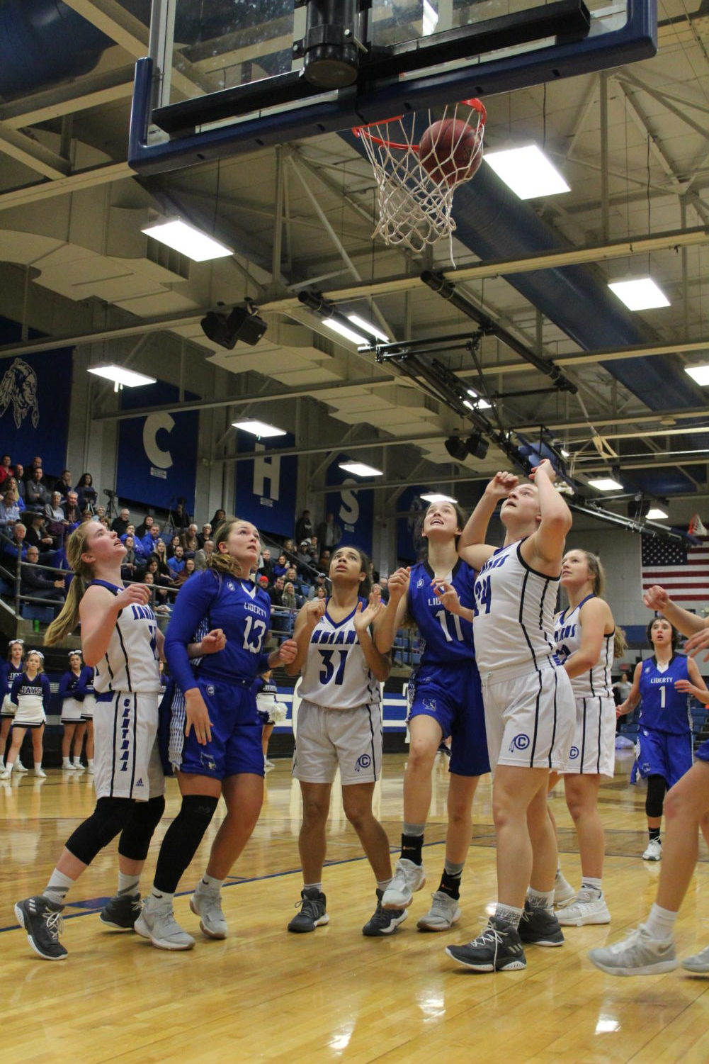 The Lady Jays prepare to grab a rebound in a game against St. Joseph Central High School on January 12, where LHS won 55-54. Photo by Chrystian Noble.